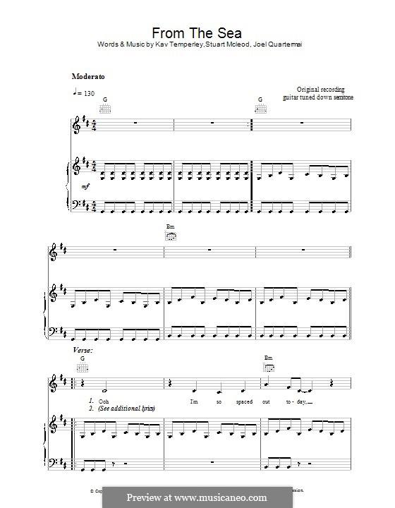 From the Sea (Eskimo Joe): Für Stimme und Klavier (oder Gitarre) by Joel Quartermain, Kavyen Temperley, Stuart MacLeod