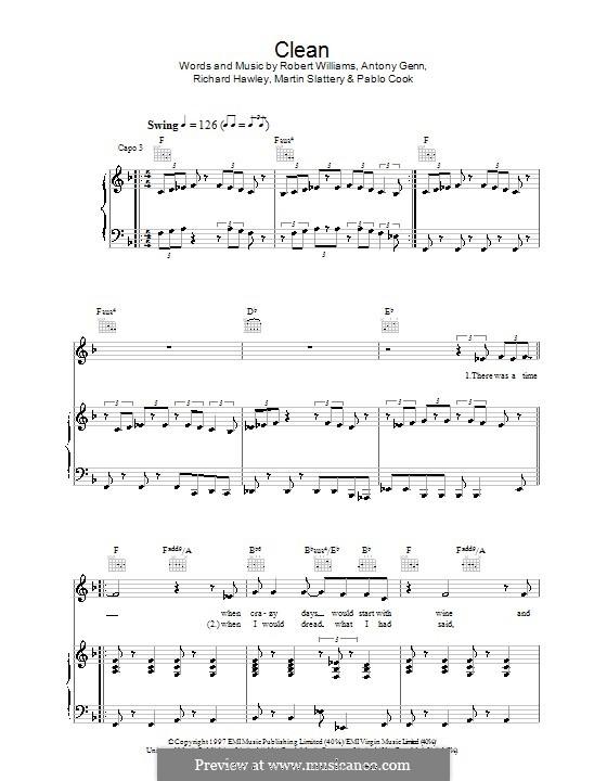 Clean: Für Stimme und Klavier (oder Gitarre) by Antony Glenn, Martin Slattery, Paul Thomas Cook, Richard Hawley, Robbie Williams