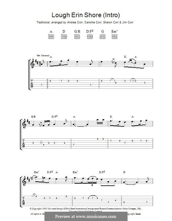Lough Erin Shore: Für Gitarre mit Tabulatur by folklore
