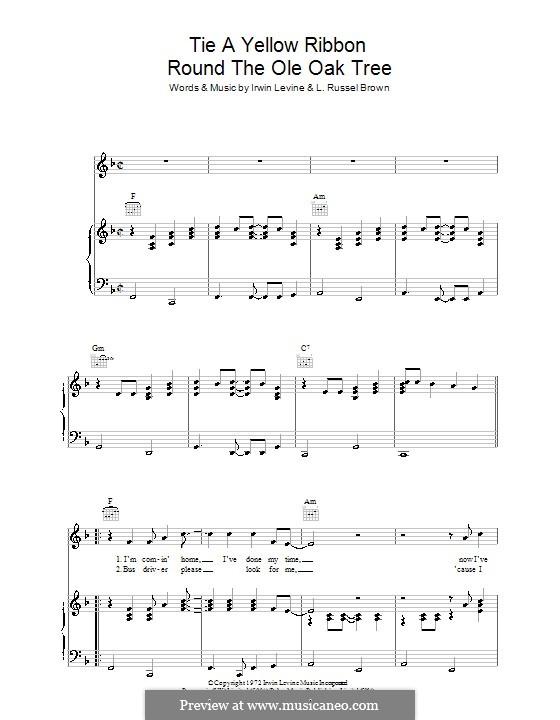 Tie a Yellow Ribbon Round the Ole Oak Tree (Tony Orlando): Für Stimme und Klavier (oder Gitarre) by Irwin Levine, L. Russell Brown