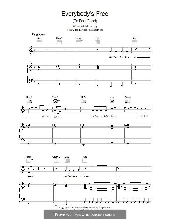 Everybody's Free (To Feel Good): Für Stimme mit Klavier oder Gitarre (Rozalla) by Nigel Swanston, Tim Cox