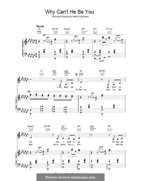 Why Can't He Be You (Patsy Cline): Für Stimme und Klavier (oder Gitarre) by Hank Cochran