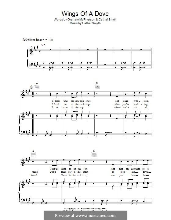 Wings of a Dove (Madness): Für Stimme und Klavier (oder Gitarre) by Cathal Smyth, Graham McPherson