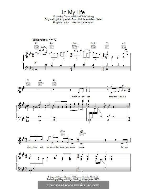 In My Life: Für Stimme und Klavier (oder Gitarre) by Claude-Michel Schönberg
