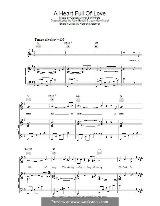 A Heart Full of Love: Für Stimme und Klavier (oder Gitarre) by Claude-Michel Schönberg