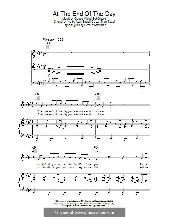 At the End of the Day: Für Stimme und Klavier (oder Gitarre) by Claude-Michel Schönberg