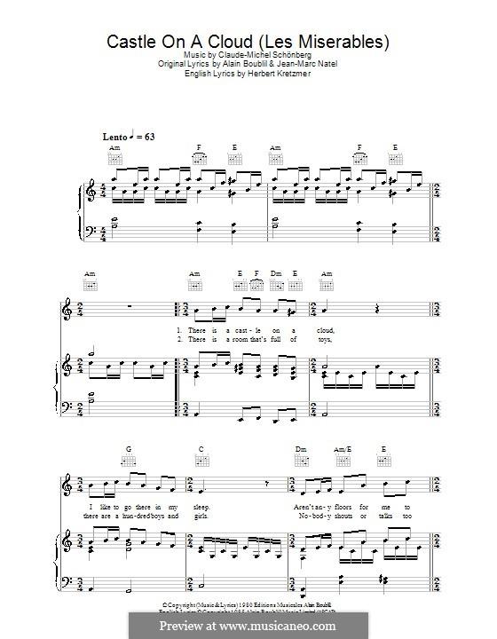 Castle on a Cloud : Für Stimme und Klavier (oder Gitarre) by Claude-Michel Schönberg