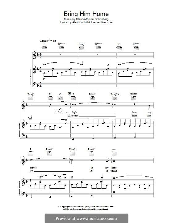 Bring Him Home: Für Stimme und Klavier (oder Gitarre) by Claude-Michel Schönberg