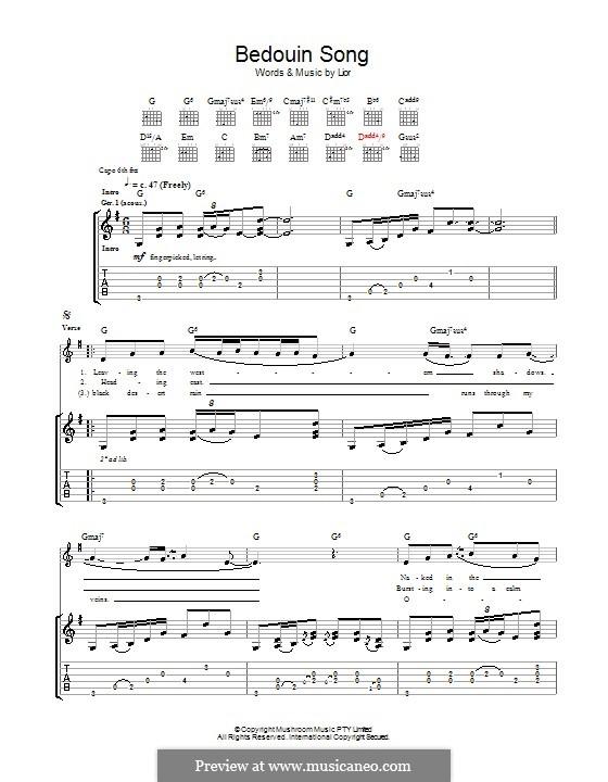 Bedouin Song: Für Gitarre mit Tab by  Lior