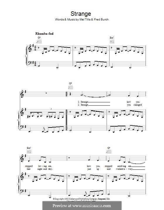 Strange (Patsy Cline): Für Stimme und Klavier (oder Gitarre) by Fred B. Burch, Mel Tillis