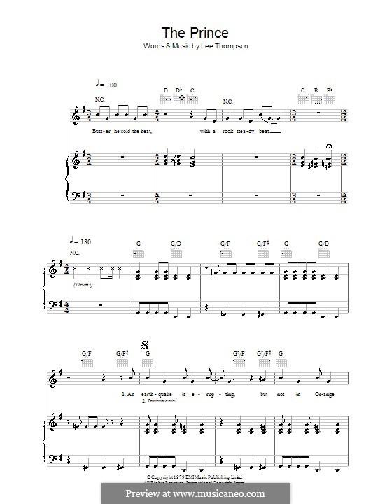 The Prince (Madness): Für Stimme und Klavier (oder Gitarre) by Lee Thompson