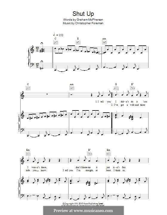 Shut Up (Madness): Für Stimme und Klavier (oder Gitarre) by Christopher Foreman, Graham McPherson