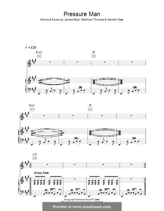 Pressure Man (The Feelers): Für Stimme und Klavier (oder Gitarre) by Hamish Gee, James Reid, Matthew Thomas