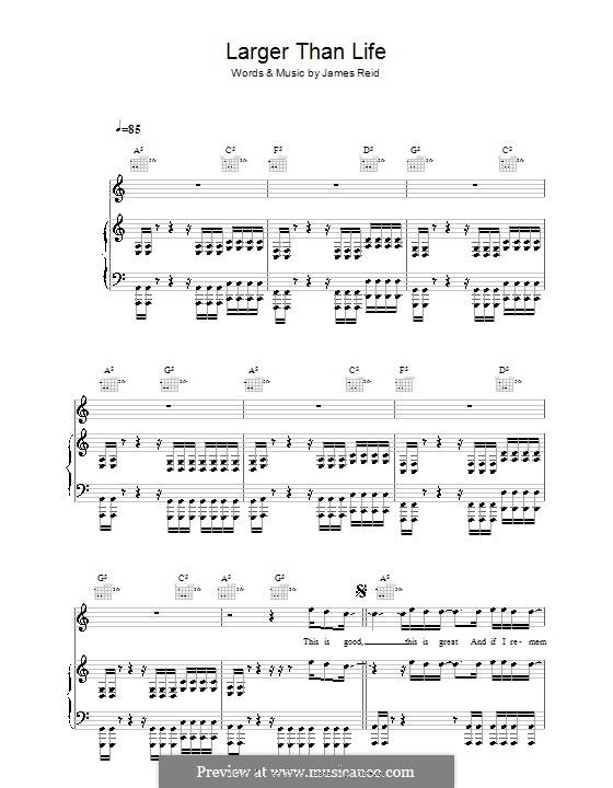 Larger Than Life (The Feelers): Für Stimme und Klavier (oder Gitarre) by James Reid