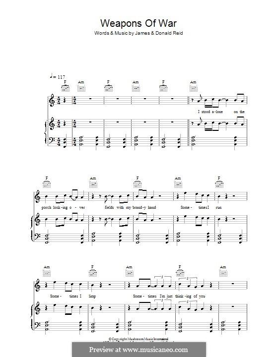 Weapons of War (The Feelers): Für Stimme und Klavier (oder Gitarre) by Donald Reid, James Reid