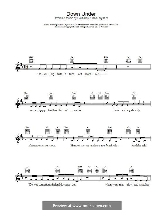 Down Under (Men at Work): Melodie, Text und Akkorde by Colin Hay, Ron Strykert