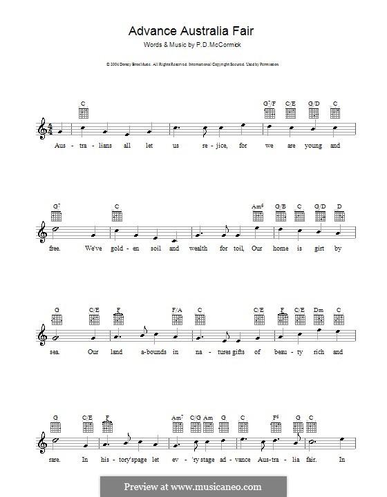 Advance Australia Fair (Australian National Anthem): Melodie, Text und Akkorde by Peter McCormick