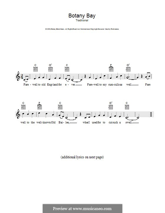 Botany Bay: Melodie, Text und Akkorde by folklore
