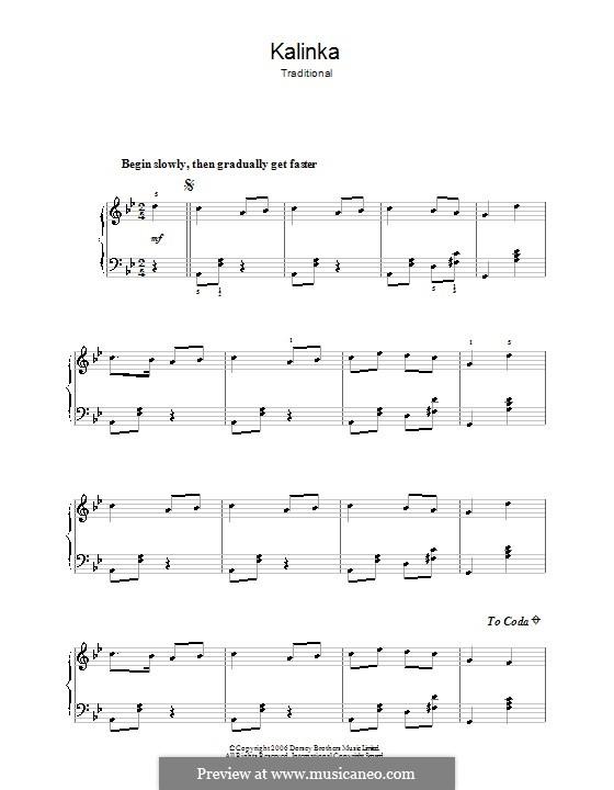 Kalinka-malinka: Für Klavier, leicht by folklore