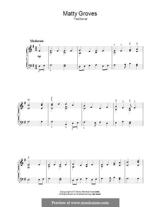 Matty Groves: Für Klavier, leicht by folklore