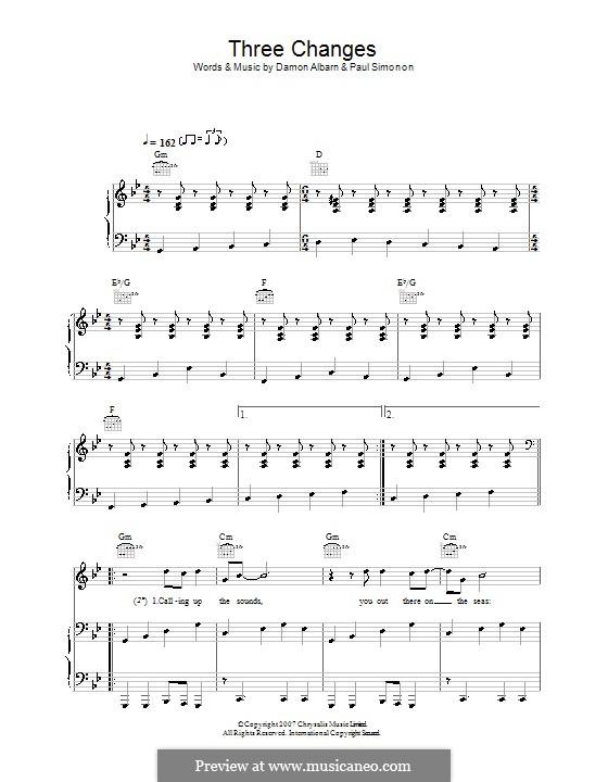 Three Changes (The Good The Bad & The Queen): Für Stimme und Klavier (oder Gitarre) by Damon Albarn, Paul Simonon