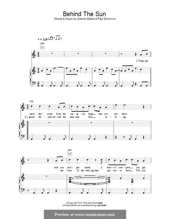 Behind the Sun (The Good The Bad & The Queen): Für Stimme und Klavier (oder Gitarre) by Damon Albarn, Paul Simonon