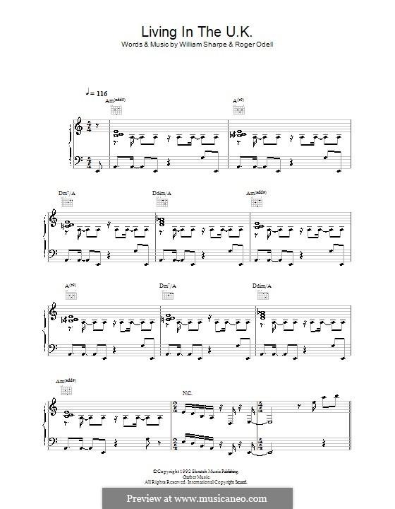 Living in the UK (Shakatak): Für Stimme und Klavier (oder Gitarre) by Roger Odell, William Sharpe