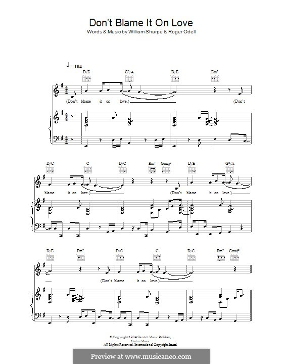 Don't Blame it on Love (Shakatak): Für Stimme und Klavier (oder Gitarre) by Roger Odell, William Sharpe
