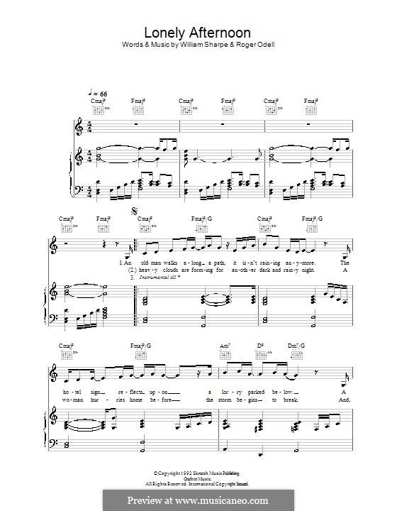Lonely Afternoon (Shakatak): Für Stimme und Klavier (oder Gitarre) by Roger Odell, William Sharpe
