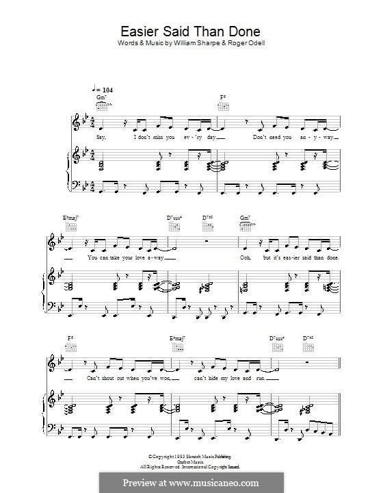 Easier Said Than Done (Shakatak): Für Stimme und Klavier (oder Gitarre) by Roger Odell, William Sharpe