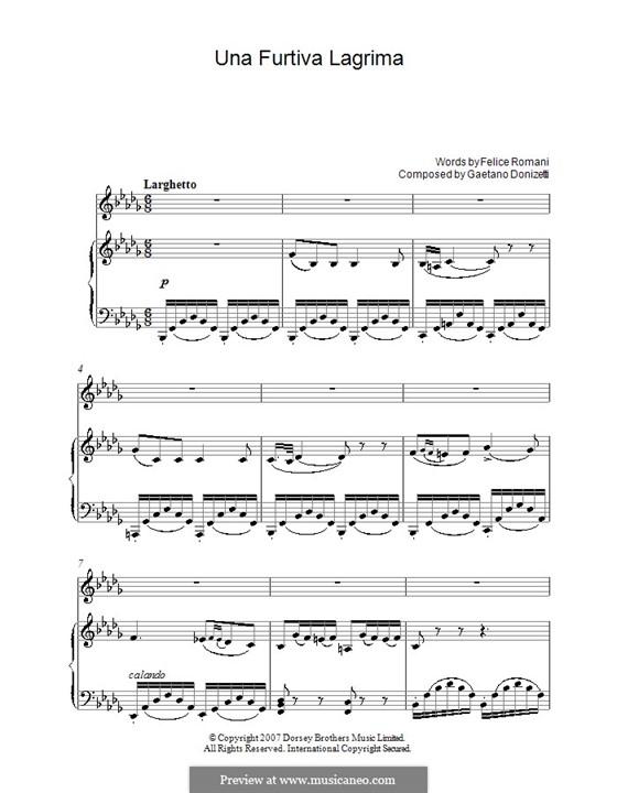 Der Liebestrank: Akt II, Romanze Nemorino 'Una furtiva lagrima' by Gaetano Donizetti