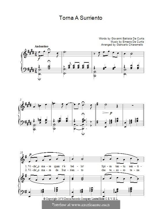 Torna a Surriento: Für Stimme und Klavier by Ernesto de Curtis