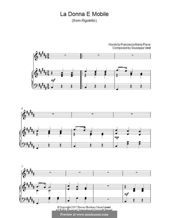 La donna è mobile (Over the Summer Sea): Für Stimme und Klavier (oder Gitarre) by Giuseppe Verdi