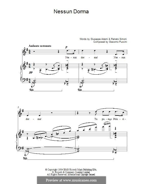 Turandot: Nessun dorma, for voice and piano by Giacomo Puccini