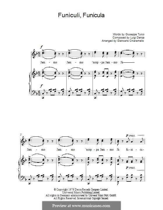 Funiculi, Funicula: Für Stimme und Klavier (oder Gitarre) by Luigi Denza