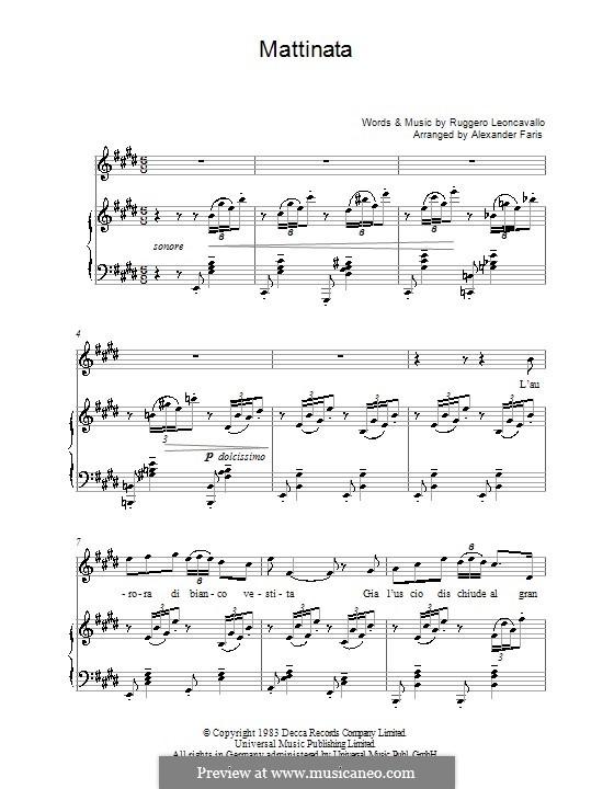 Mattinata: Klavierauszug mit Singstimmen by Ruggero Leoncavallo