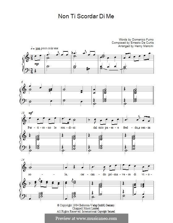 Non ti scordar di me: Für Stimme und Klavier by Ernesto de Curtis
