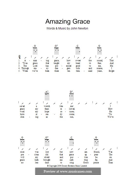 Amazing Grace (Printable Scores): Für Ukulele mit Schlagmuster by folklore