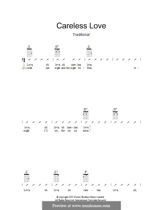 Careless Love: Ukulele with strumming patterns by folklore