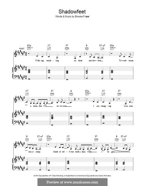 Shadowfeet: Für Stimme und Klavier (oder Gitarre) by Brooke Fraser