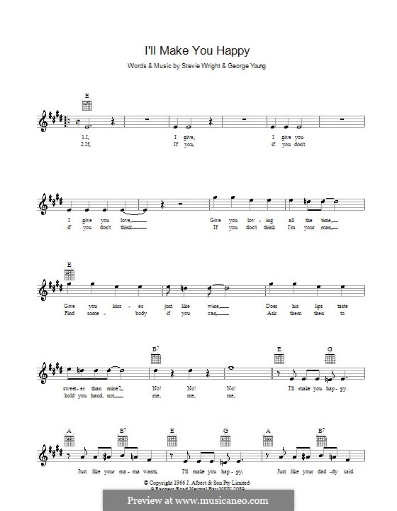 I'll Make You Happy: Melody line, lyrics and chords (Divinyls) by George Young, Steve Wright