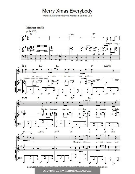 Merry Xmas Everybody (Slade): Für Stimme und Klavier (oder Gitarre) by James Lea, Noddy Holder
