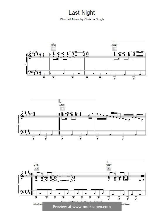 Last Night: Für Stimme und Klavier (oder Gitarre) by Chris de Burgh