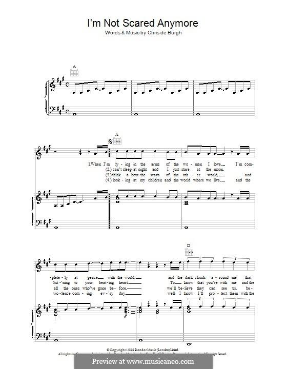I'm Not Scared Anymore: Für Stimme und Klavier (oder Gitarre) by Chris de Burgh