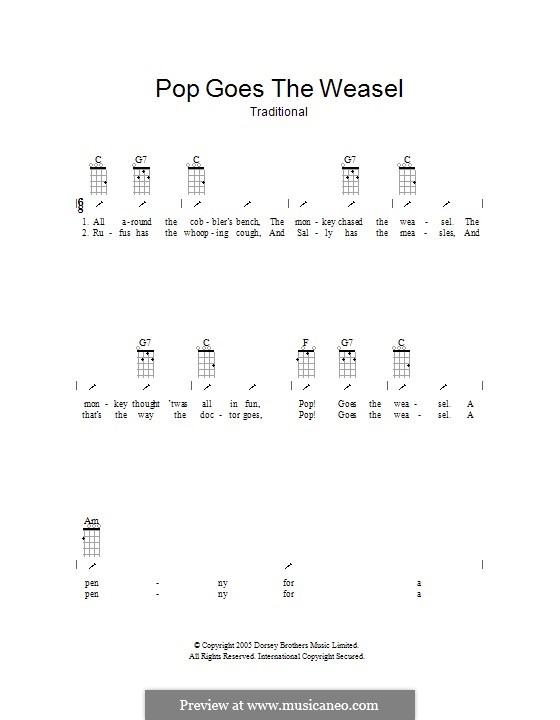 Pop Goes the Weasel: Ukulele mit Schlagmuster by folklore