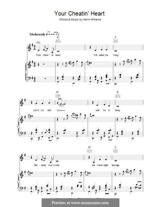 Your Cheatin' Heart: Für Stimme und Klavier (oder Gitarre) by Hank Williams