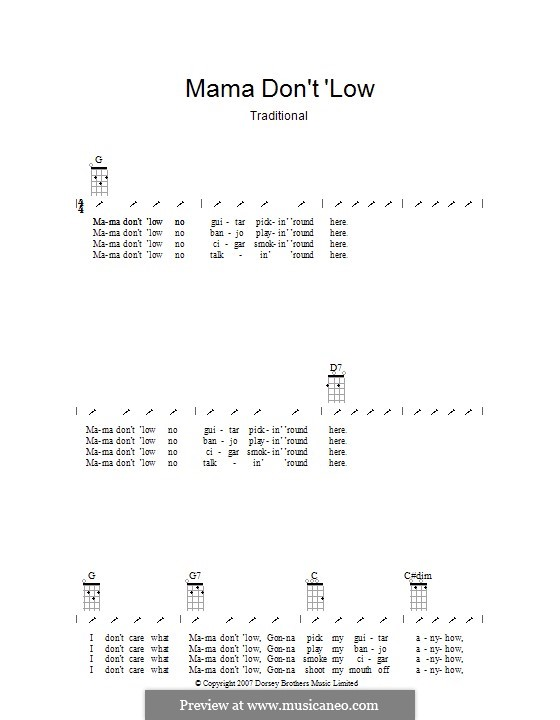 Mama Don't 'low: Ukulele mit Schlagmuster by folklore