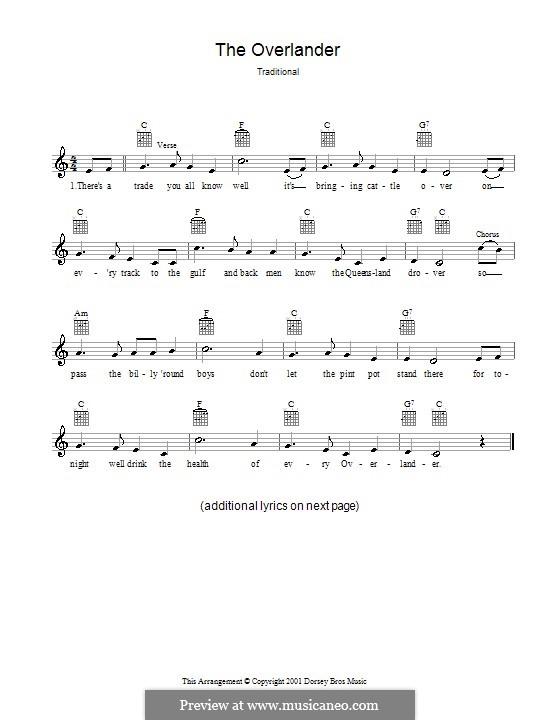 The Overlander: Melodie, Text und Akkorde by folklore