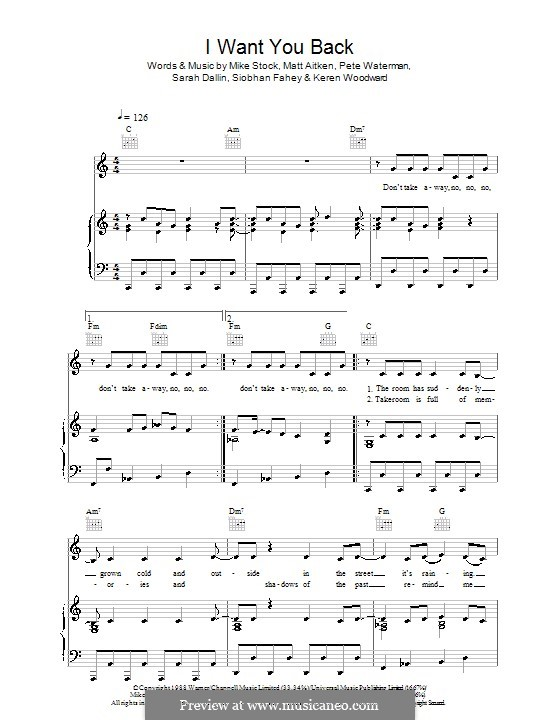 I Want You Back (Bananarama): Für Stimme und Klavier (oder Gitarre) by Keren Woodward, Matt Aitken, Mike Stock, Pete Waterman, Sarah Dallin, Siobhan Fahey