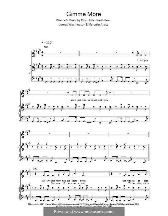 Gimme More (Britney Spears): Für Stimme und Klavier (oder Gitarre) by James Washington, Keri Lynn Hilson, Marcella Araica, Floyd Nathaniel Hills